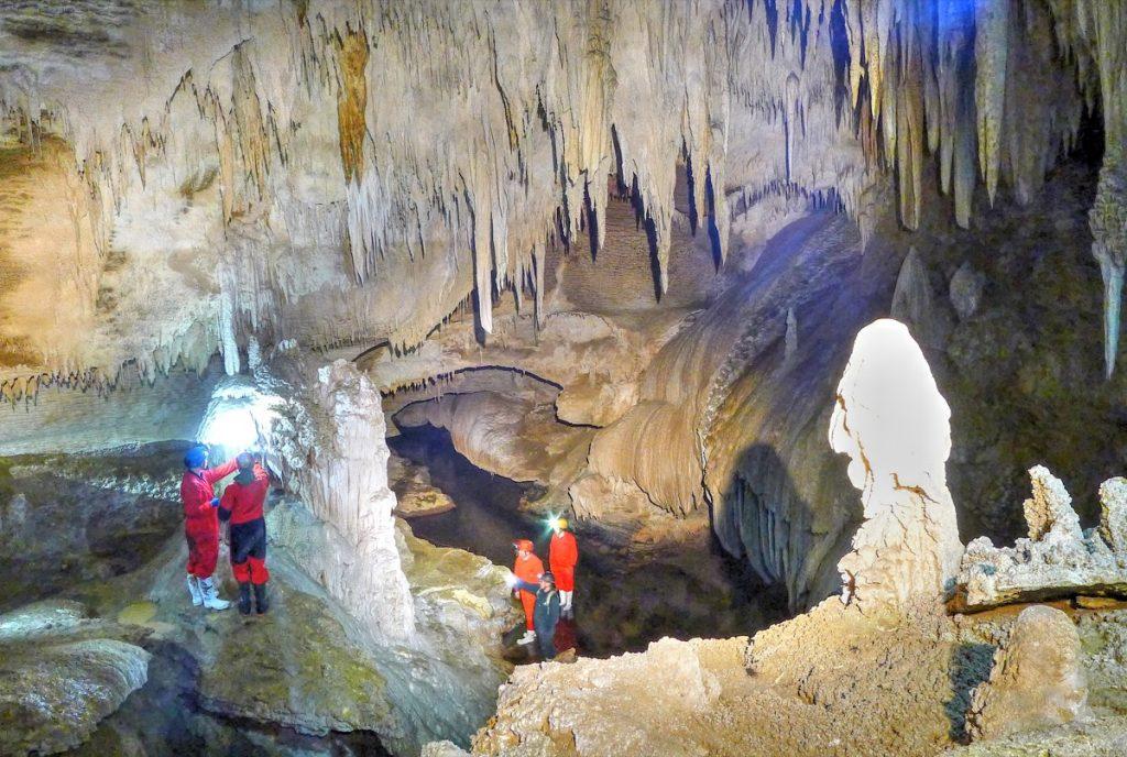 Sampling in the Waipuna Cave.